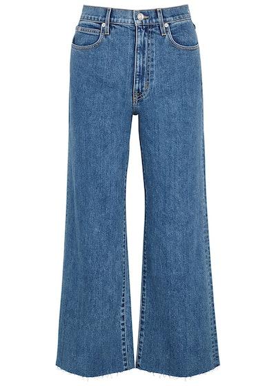 Grace blue wide-leg cropped jeans: image 1