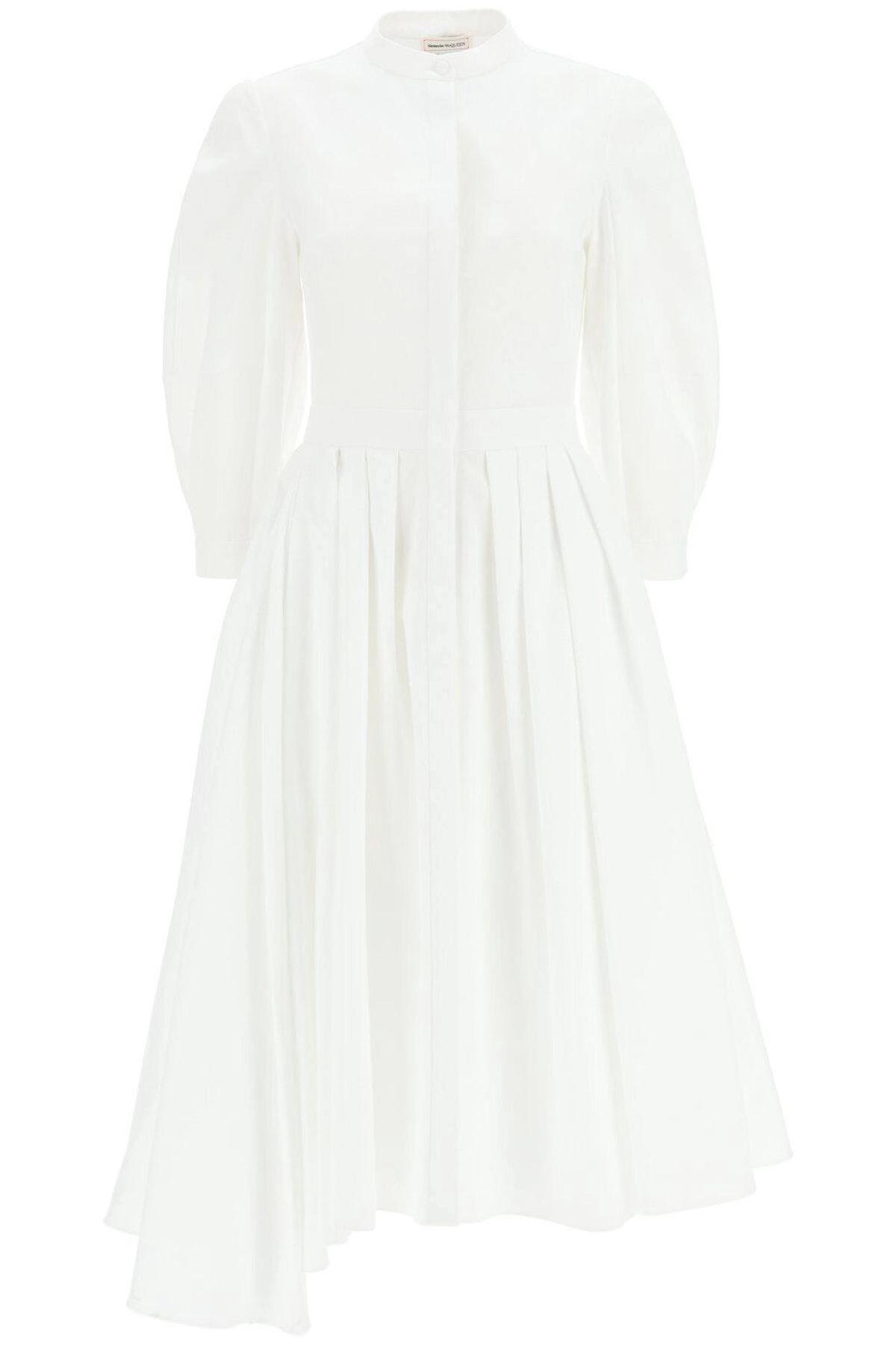 Alexander Mcqueen Asymmetrical Dress In Cotton Piquet: image 1