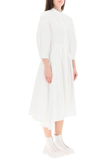 Alexander Mcqueen Asymmetrical Dress In Cotton Piquet: additional image
