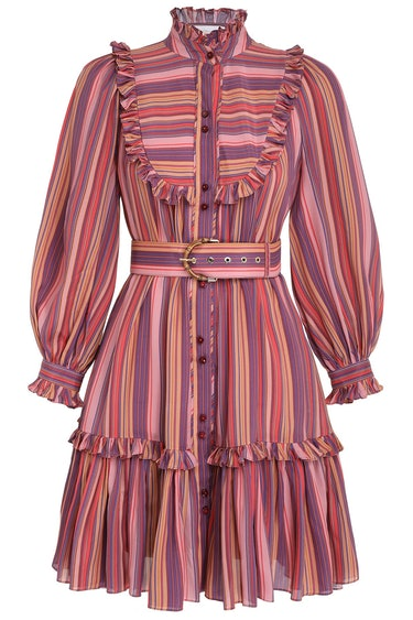 Viscose Swing Mini Dress in Pink/Purple Stripe: image 1