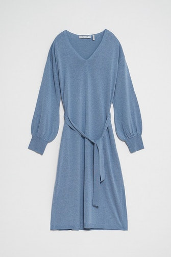 Belted V-neck Knitted Midi Dress: image 1
