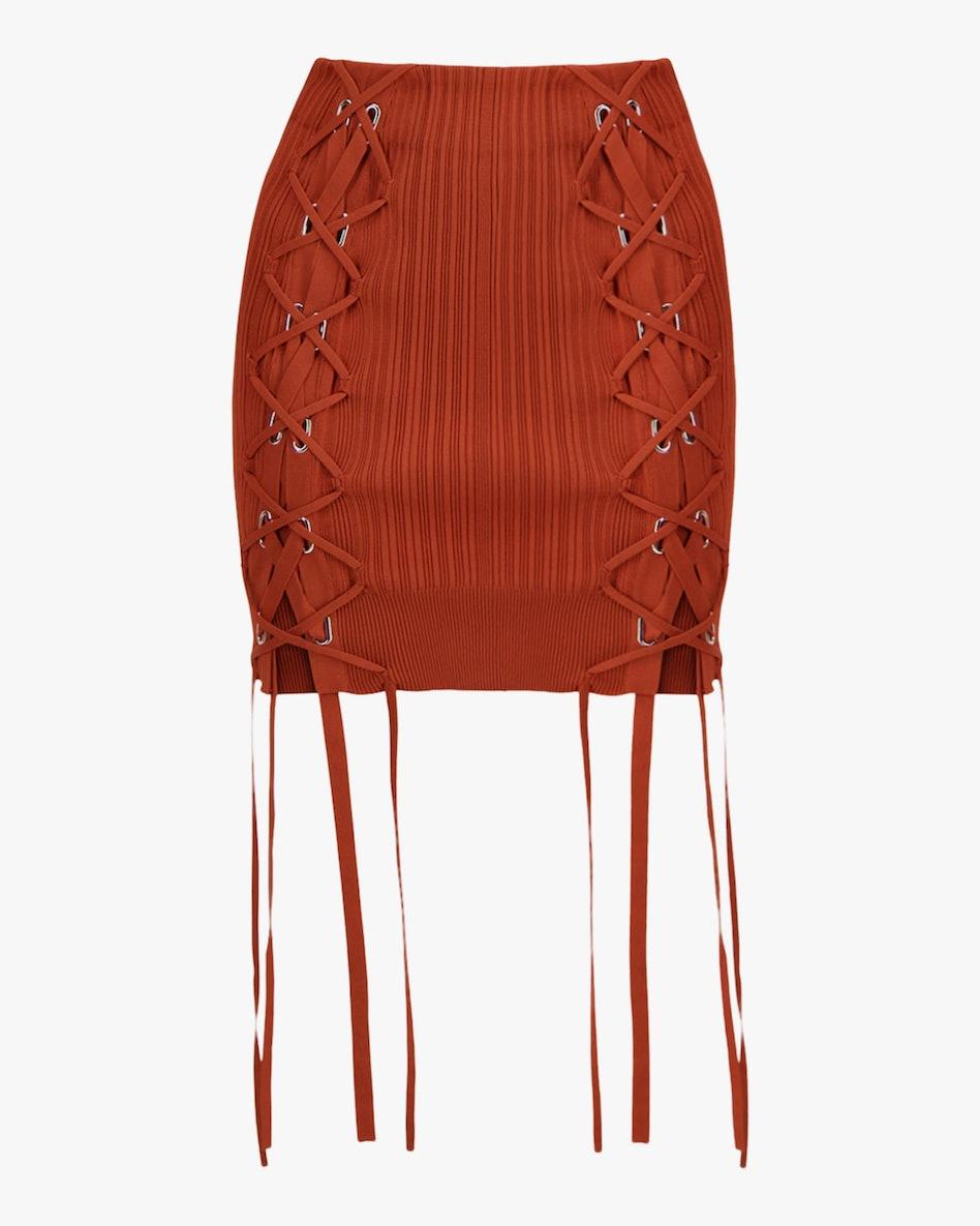 Rib Lace Mini Skirt: image 1
