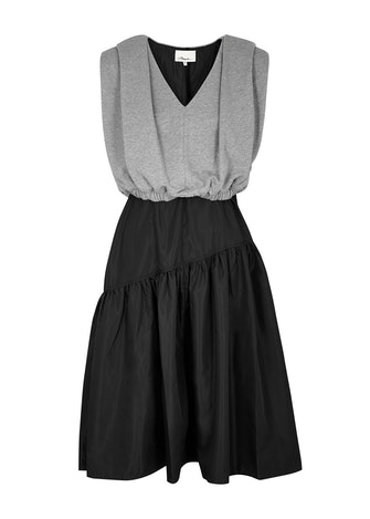 Two-tone taffeta and cotton dress: image 1