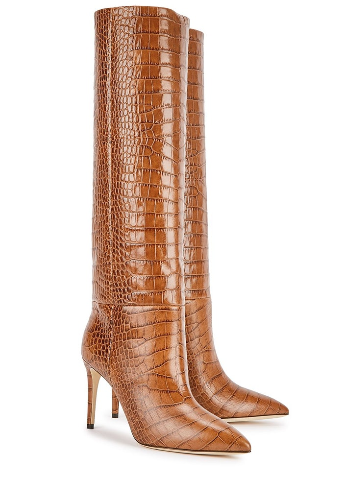 85 crocodile-effect leather knee-high boots: image 1