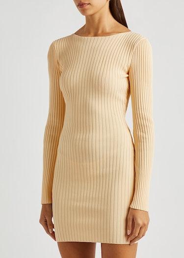 Lyla cream rib-knit mini dress: image 1