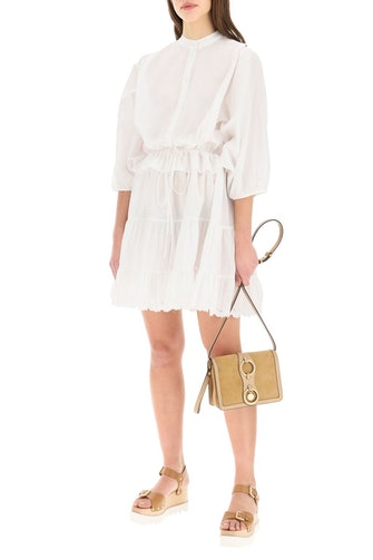 See By Chloe Poplin Dress With Ruffles And Logo Embroidery: image 1