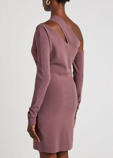 Shani mauve cut-out stretch-knit mini dress: additional image