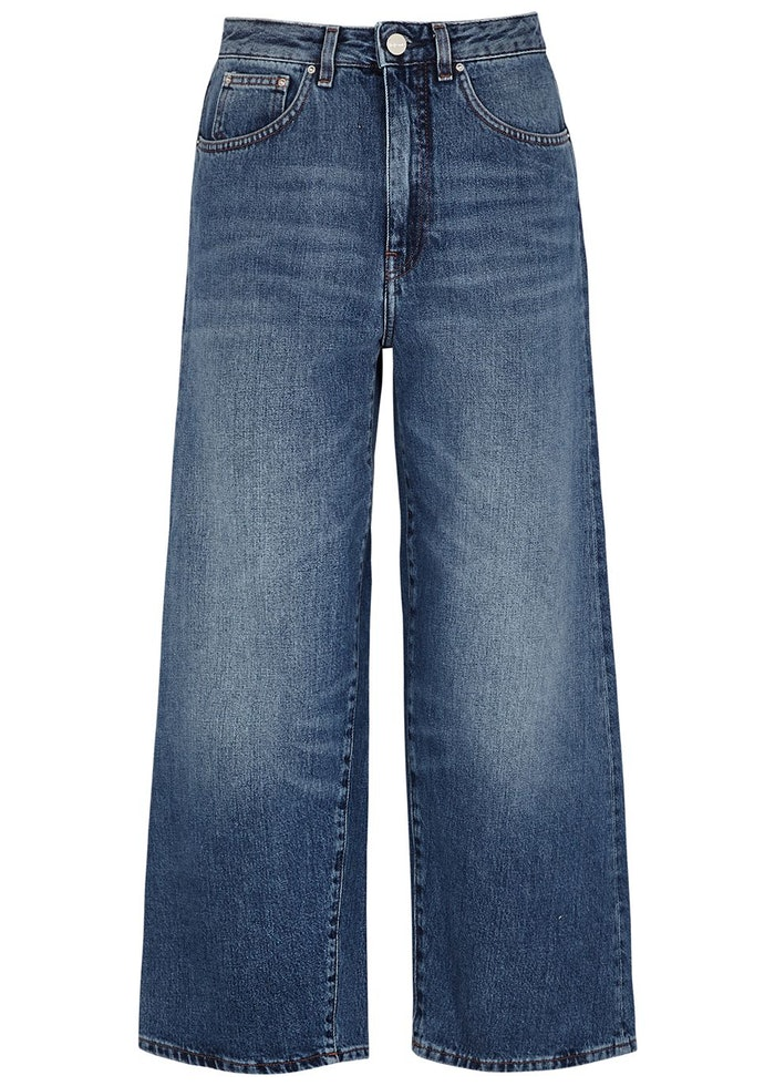 Blue cropped wide-leg jeans: image 1