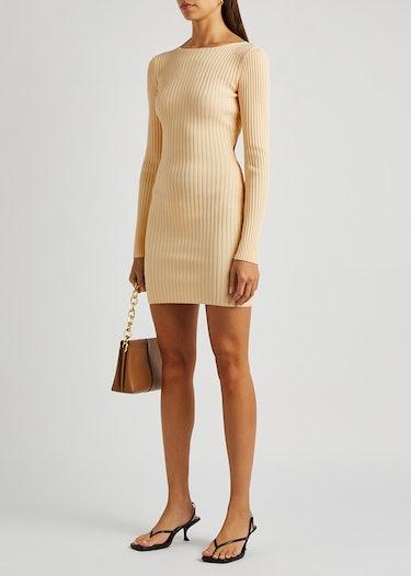 Lyla cream rib-knit mini dress: additional image
