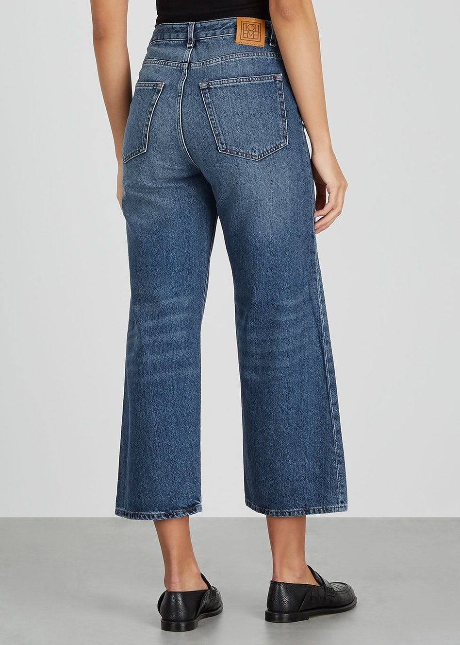 Blue cropped wide-leg jeans: additional image