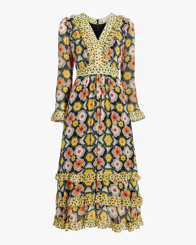 V-Neck Tiered Midi Dress: image 1