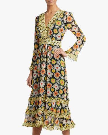 V-Neck Tiered Midi Dress: additional image
