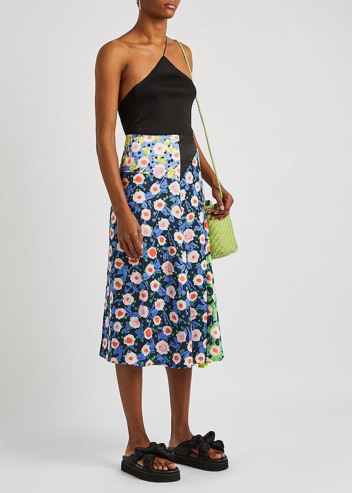 Lilah floral-print satin midi skirt: image 1