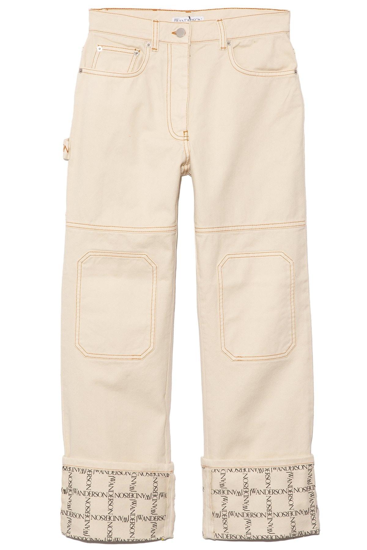 Logo Grid Workwear Jeans in Ivory: image 1