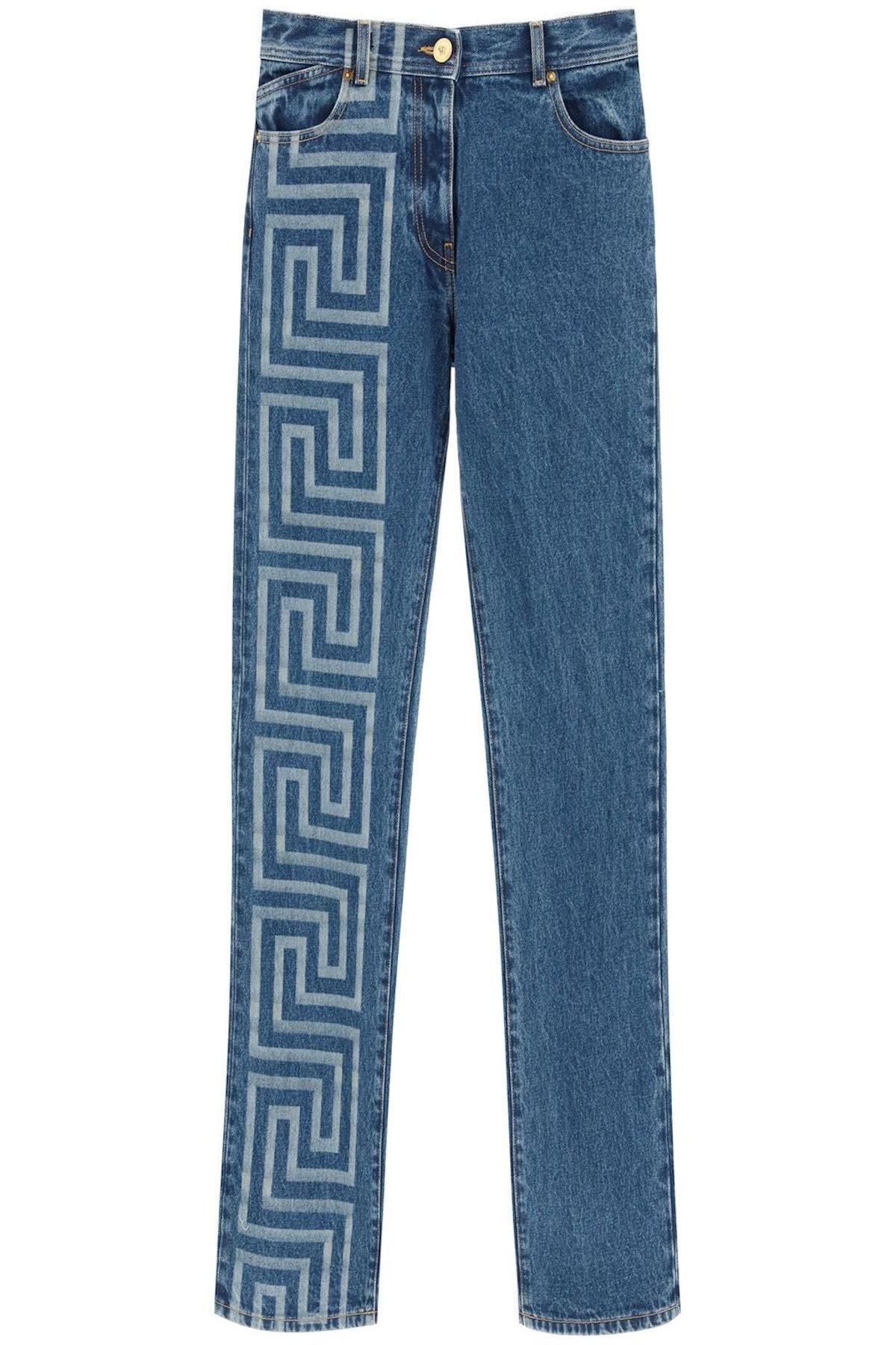 Versace Greca Print Wide Leg Jeans: image 1