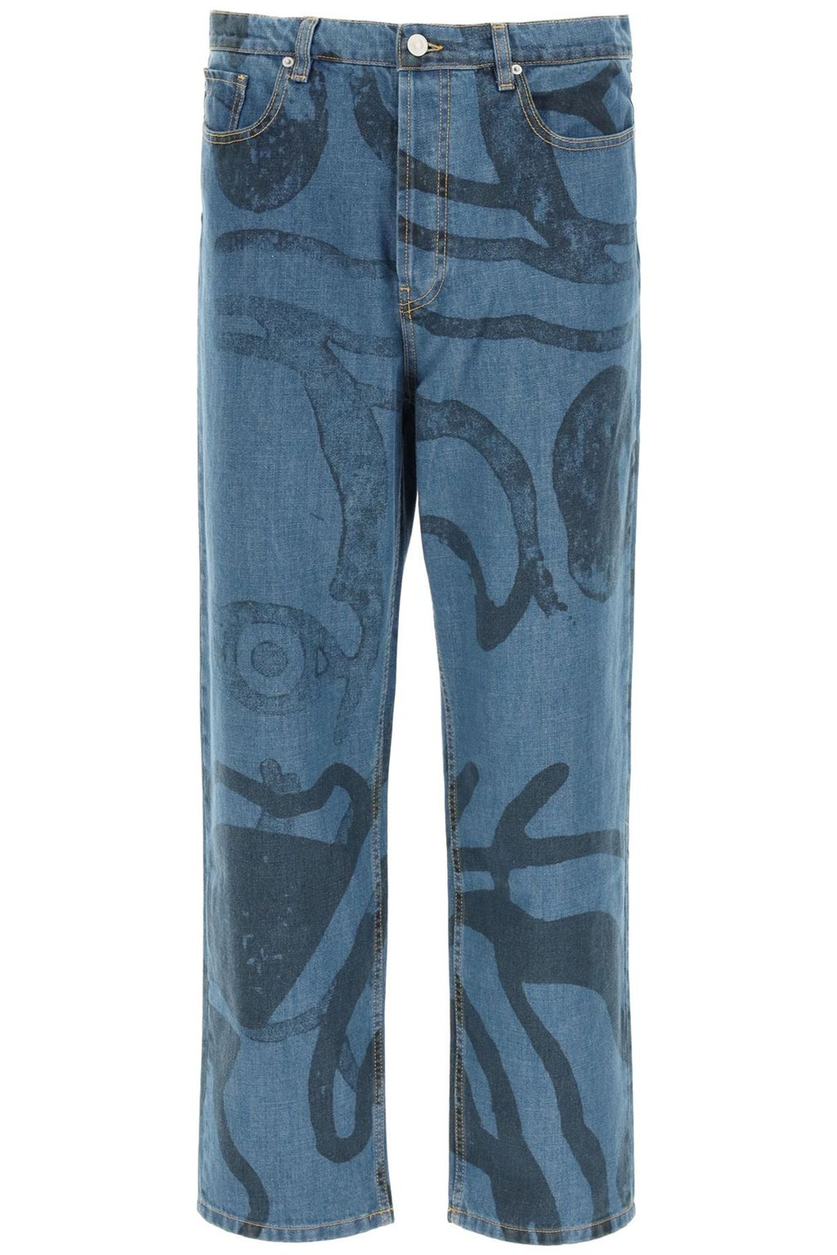 Kenzo Large Jeans With K-tiger Print: image 1