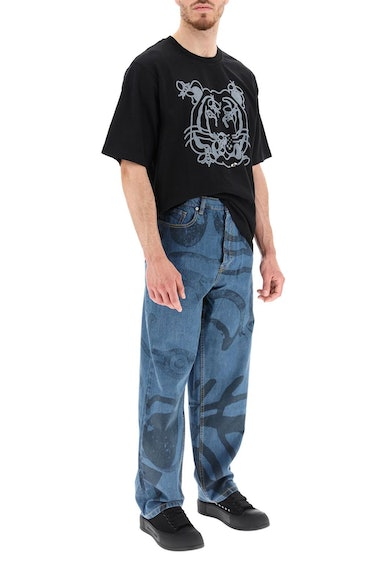 Kenzo Large Jeans With K-tiger Print: additional image