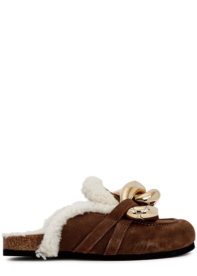 Brown shearling-trimmed suede mules: image 1