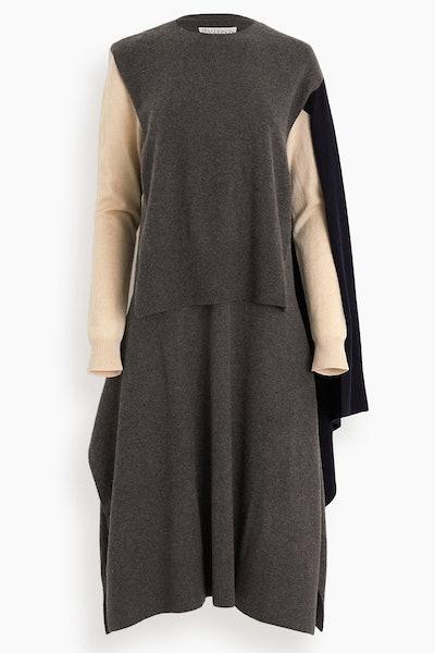 Asymmetric Cape Dress in Grey: image 1