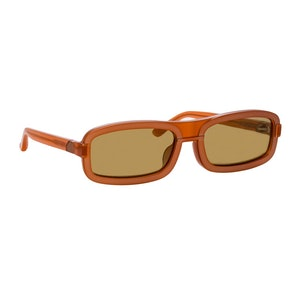 Y/Project 6 Rectangular Sunglasses in Brown: image 1