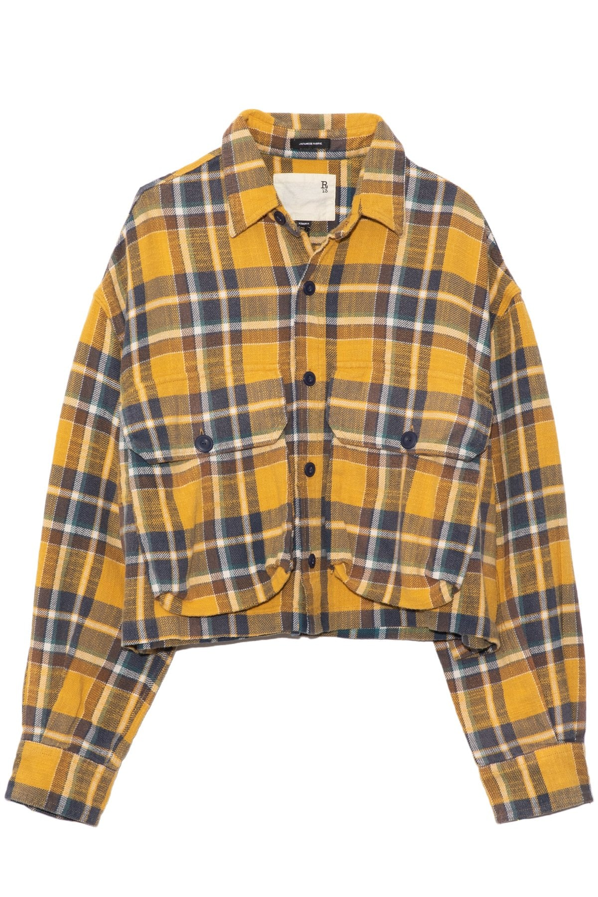 Oversized Cropped Shirt in Yellow Plaid: image 1
