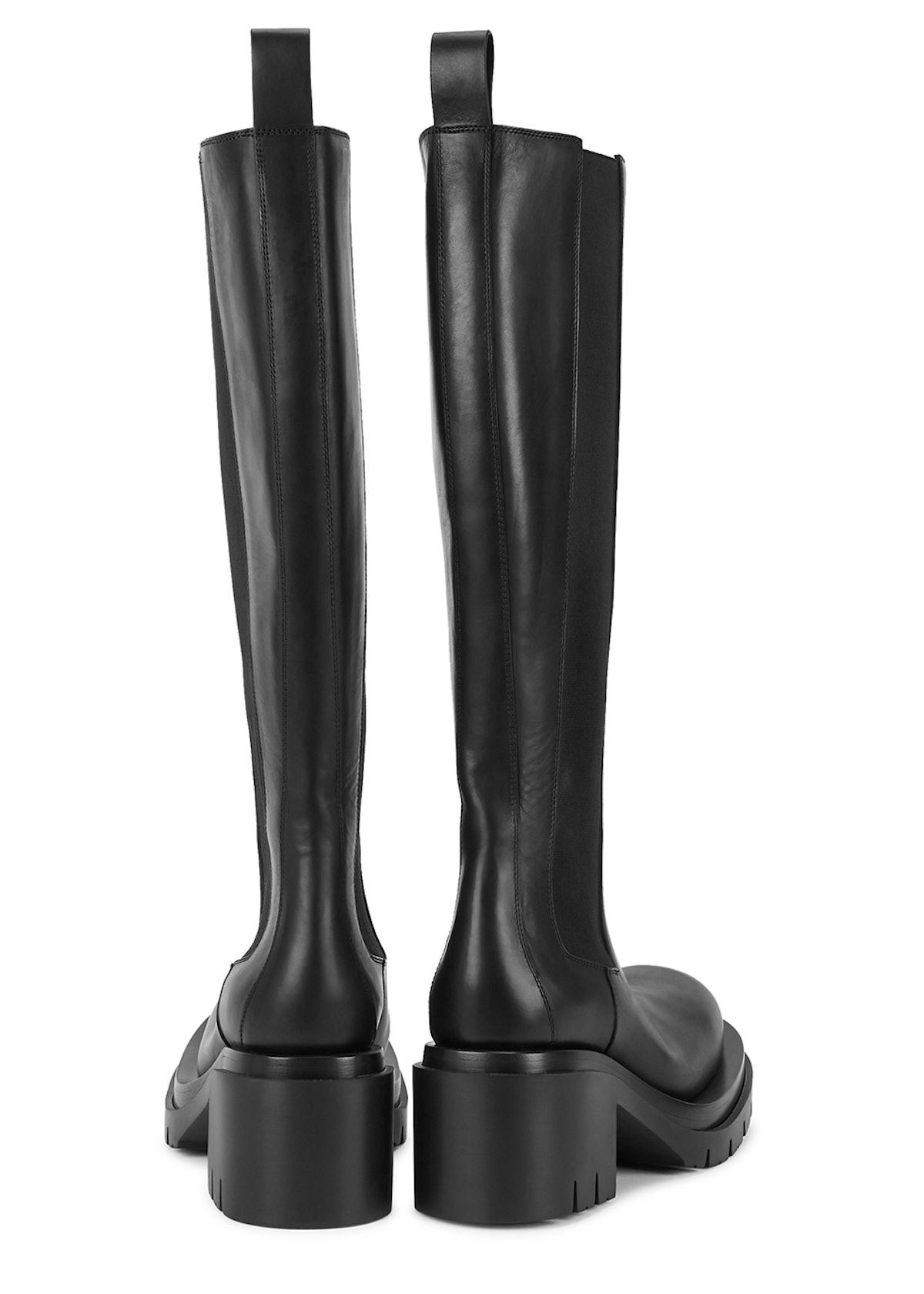 Lug black leather knee-high Chelsea boots: additional image