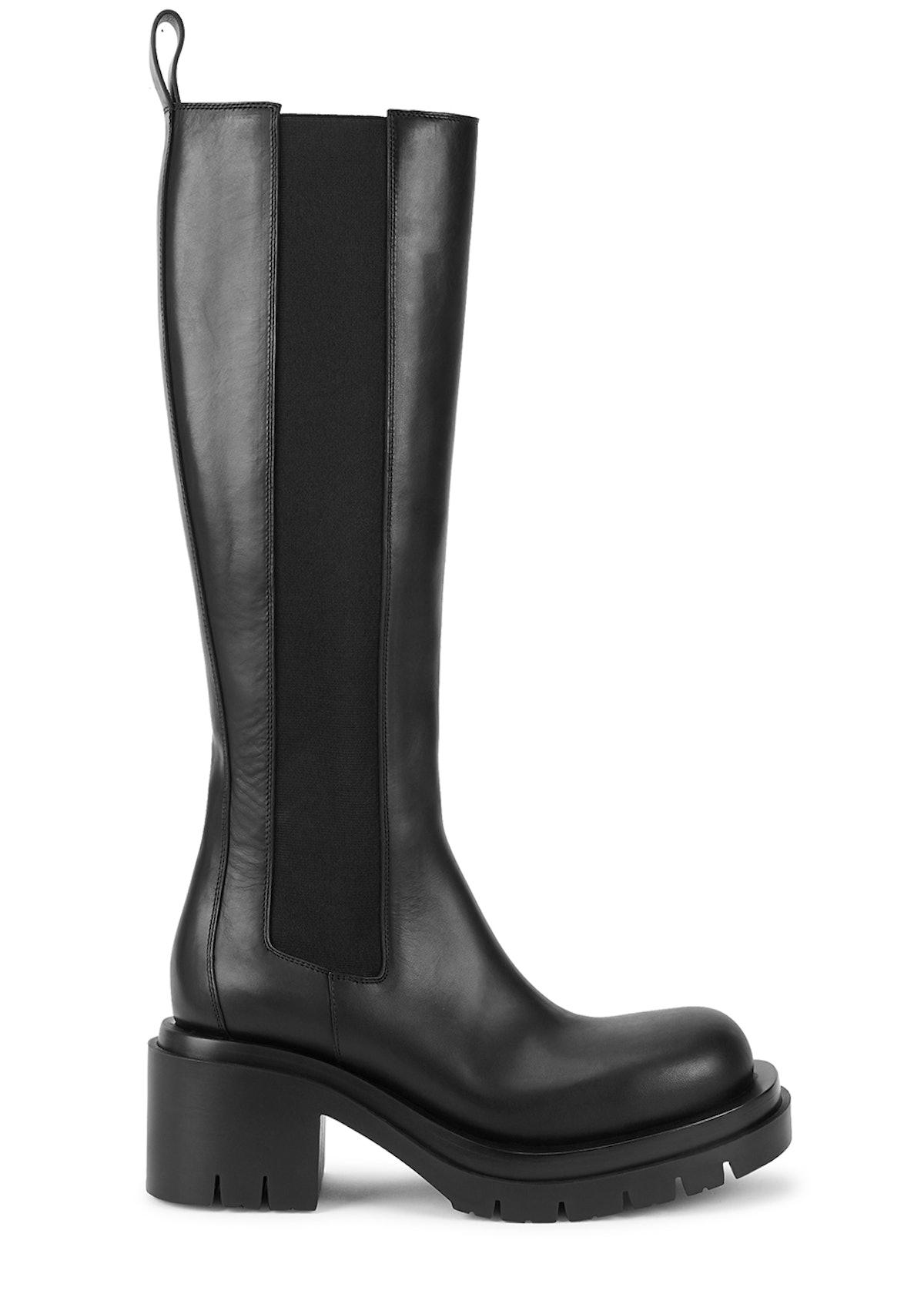 Lug black leather knee-high Chelsea boots: image 1