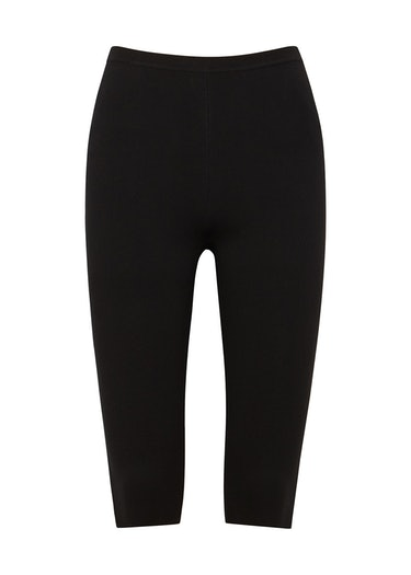 Black stretch-knit cycling shorts: image 1