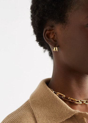 Pleated 14kt gold-dipped hoop earrings: additional image