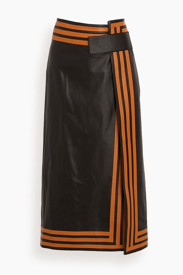 Pieced Leather Wrap Skirt in Black Multi: image 1