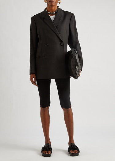 Black stretch-knit cycling shorts: additional image
