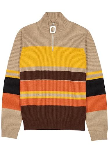 Striped half-zip ribbed wool jumper: image 1