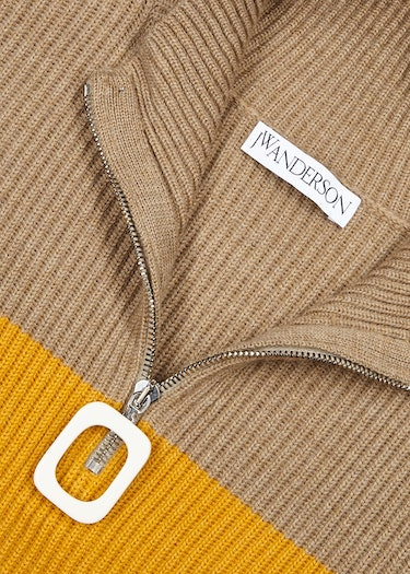 Striped half-zip ribbed wool jumper: additional image