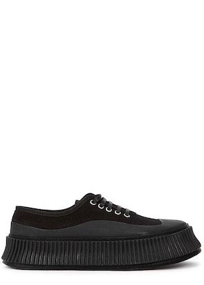 Black canvas flatform sneakers: image 1