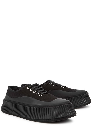 Black canvas flatform sneakers: additional image