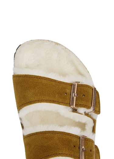Arizona brown shearling-lined suede sliders: additional image