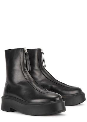 Zipped 1 black leather flatform ankle boots: image 1