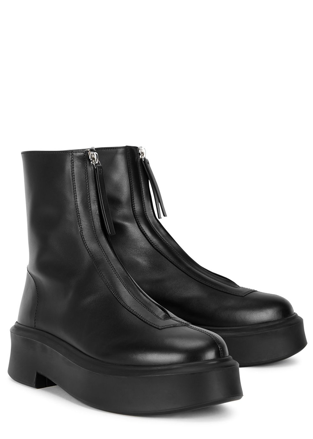 Zipped 1 black leather flatform ankle boots: additional image