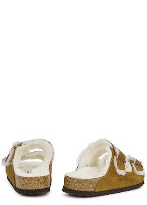 Arizona brown shearling-lined suede sliders: image 1