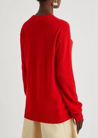 Red wool jumper: image 1