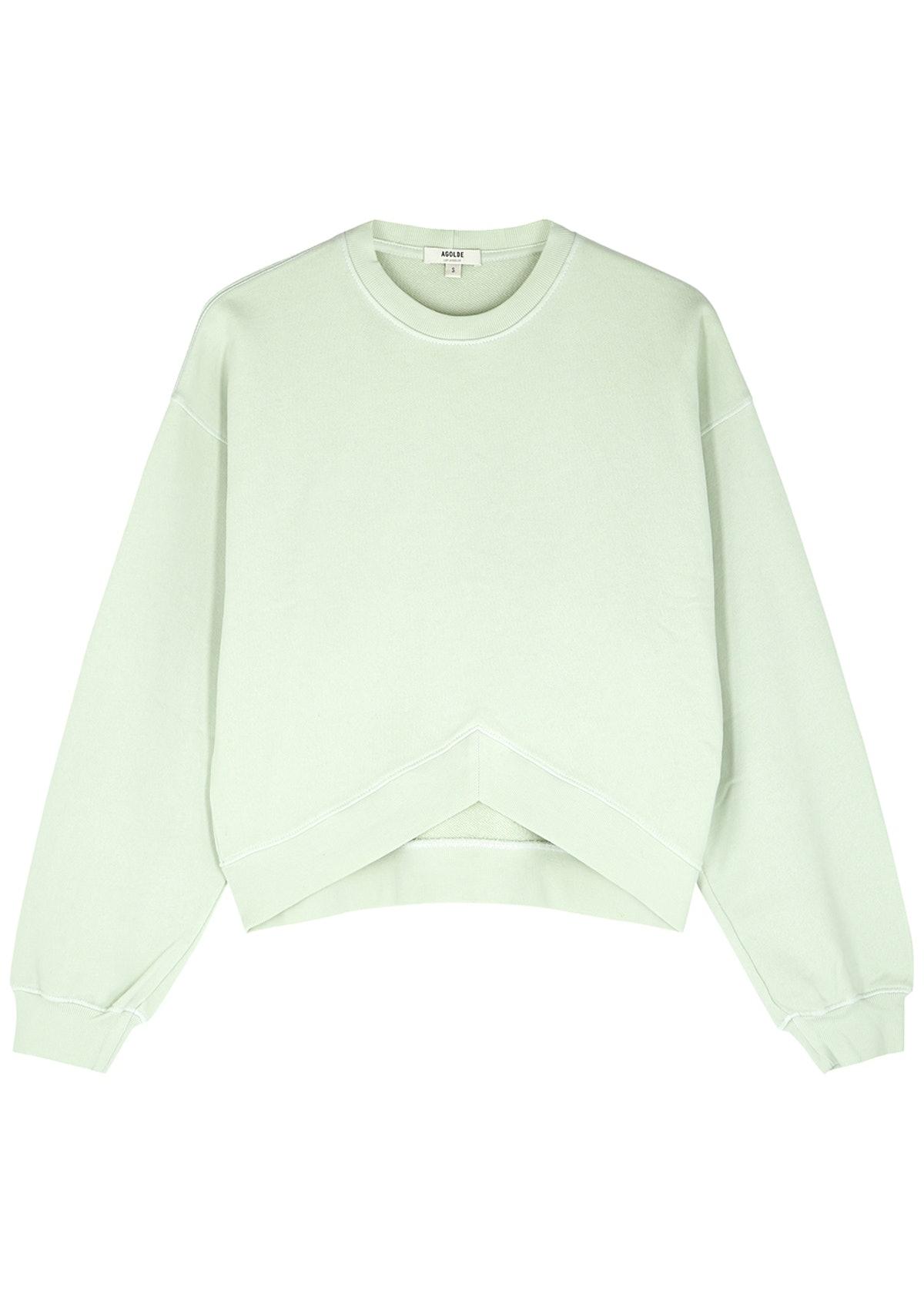 Mint green cotton sweatshirt: image 1