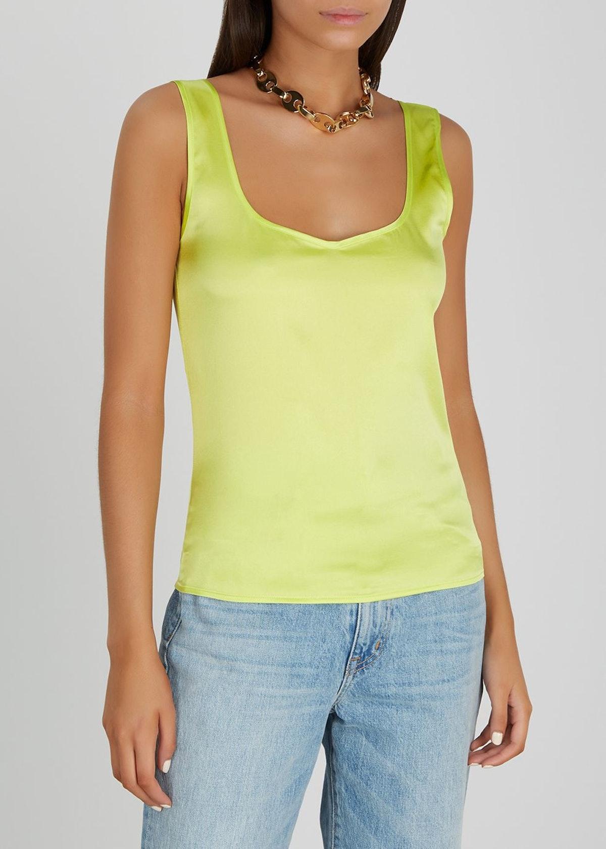 Edita lime stretch-silk top: image 1