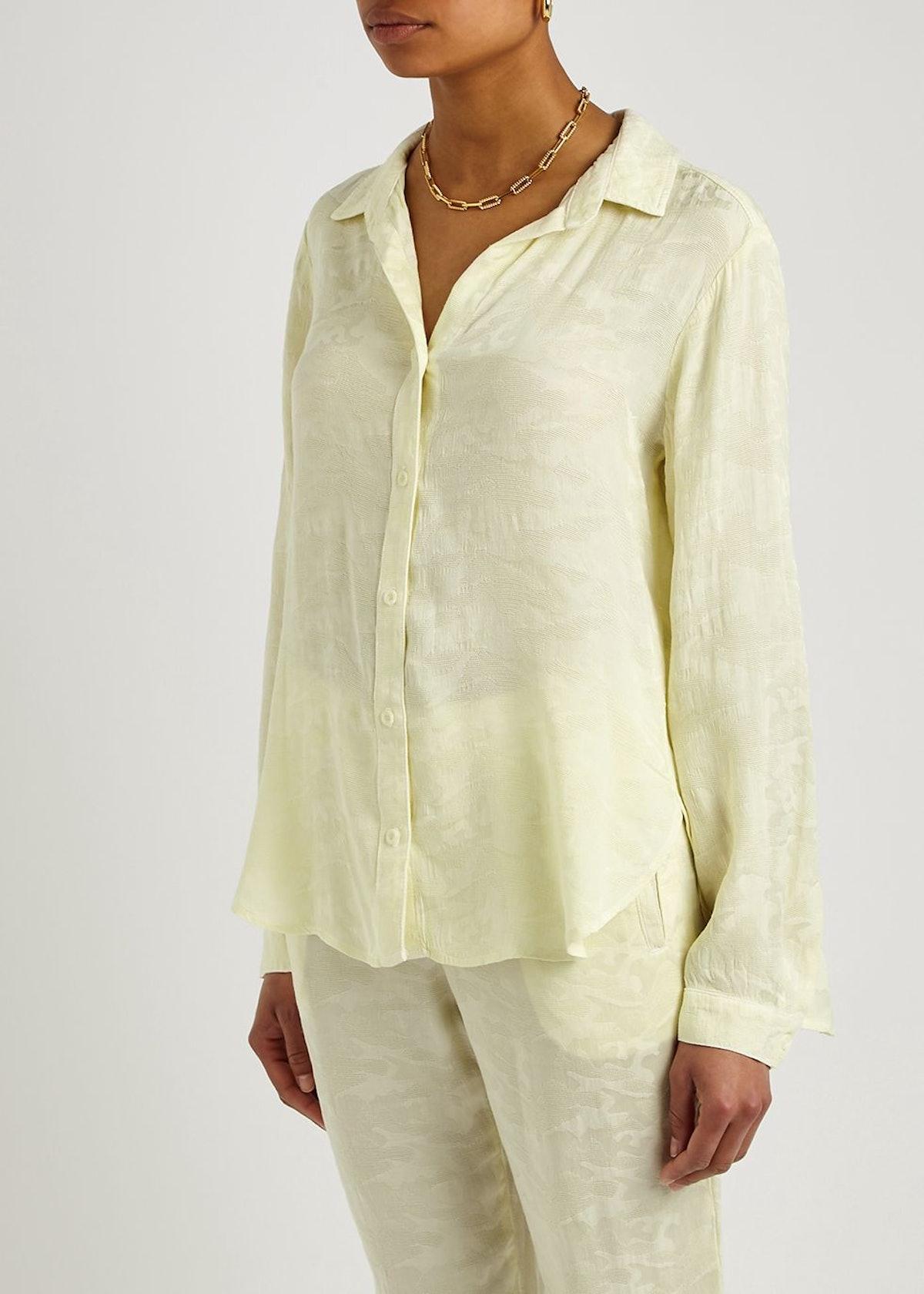 Yellow camouflage-jacquard shirt: image 1