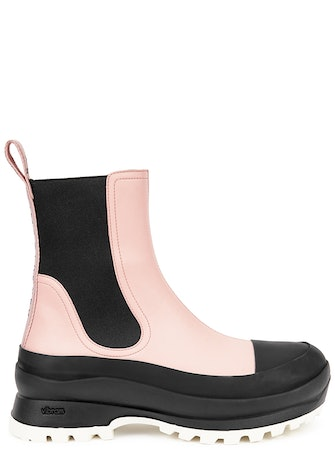 Trace light pink faux leather Chelsea boots: image 1