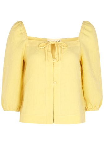 Nicola yellow linen top: image 1