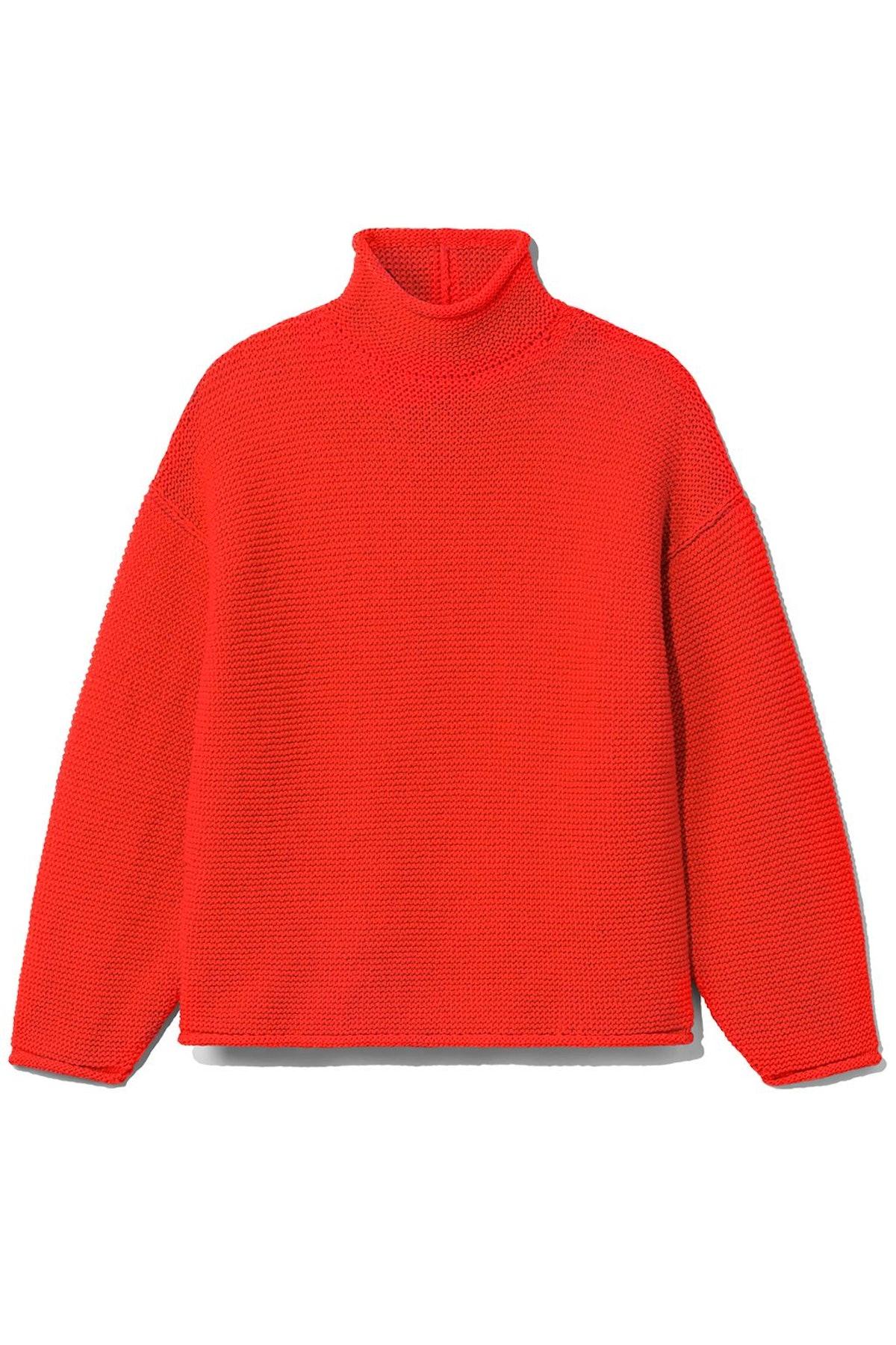 Cotton Turtleneck Sweater in Orange: image 1