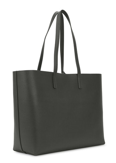 Charcoal grained leather tote: additional image