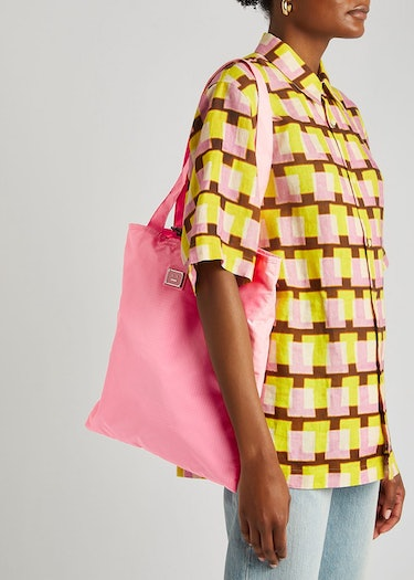 Awen Face pink ripstop shell tote: additional image