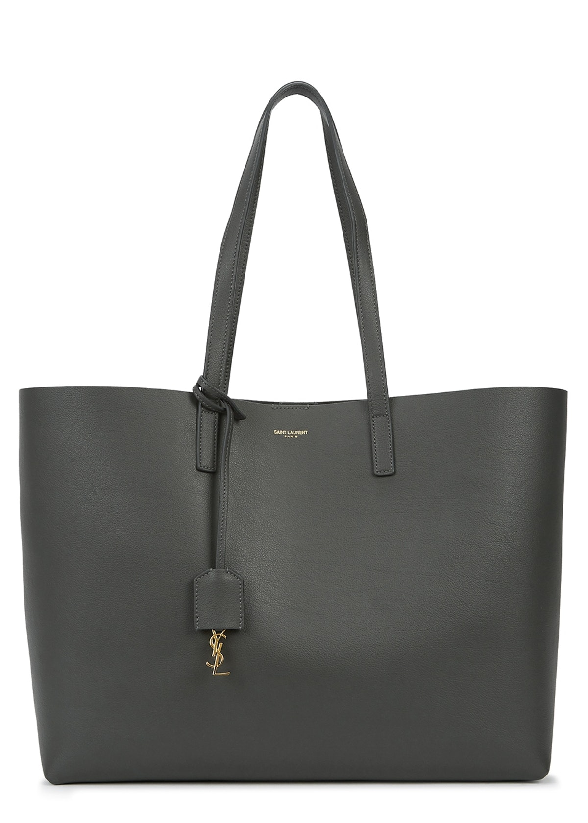 Charcoal grained leather tote: image 1