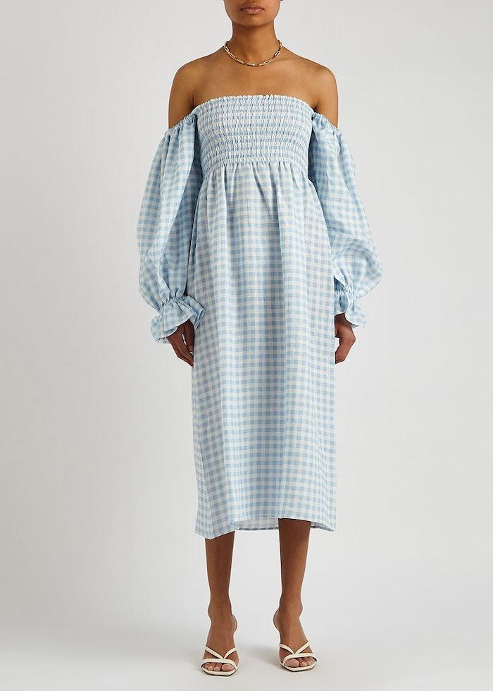 Atlanta gingham smocked linen midi dress: image 1